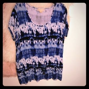 Michael Kors Navy/white tie-dyed short sleeve top.
